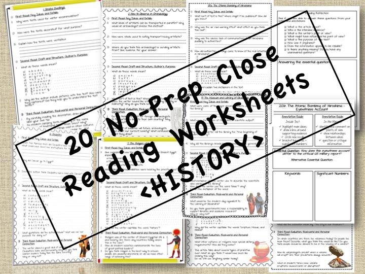 No Prep HISTORY Close Reading Passages & Questions + GOOGLE DRIVE LINKS