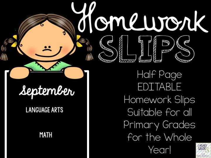 Editable Half Page Homework Slips