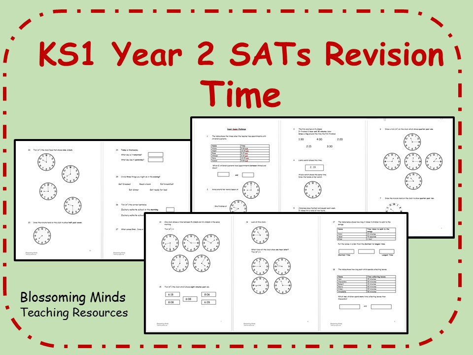 KS1 Year 2 Maths SATs Revision - Time - Differentiated Levels