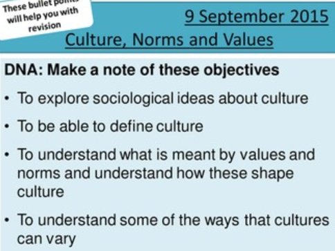 50% off vs buying individually:  9 x sociology H580 / H180 'what is culture (01)?' lessons.