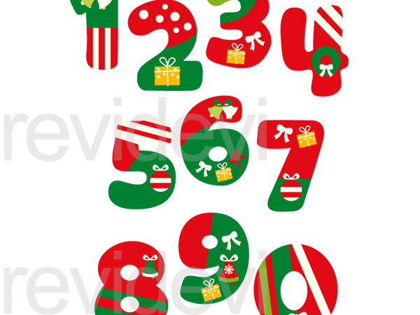 Christmas Numbers Clip Art Graphics