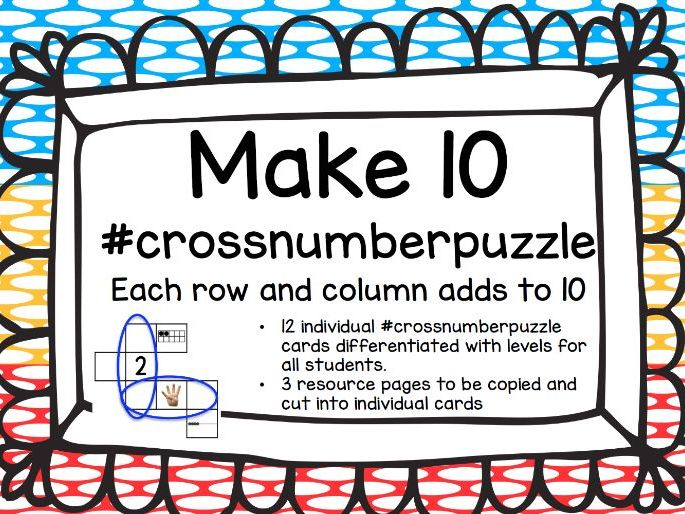 'Make 10' Crossnumber puzzle