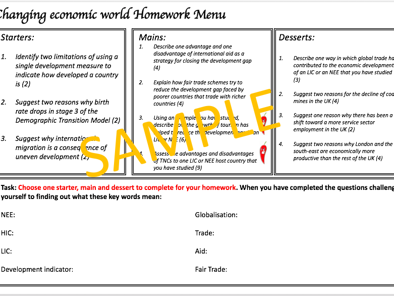 Changing Economic World Homework Menu - AQA 9-1 Geo