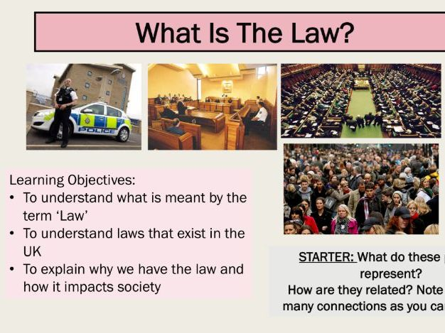KS3 Citizenship lesson - introduction to British Law