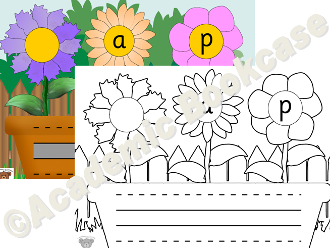 CVC and Phase 4 words - flower pot and flowers