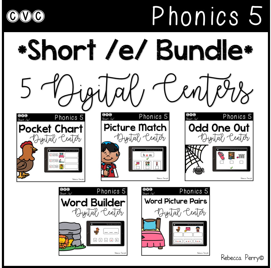 CVC Short E Bundle - 5 Digital Centers - Phonics (Google Classroom)