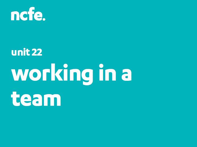 601/4681/3 Unit 22: Working in a Team Workbook