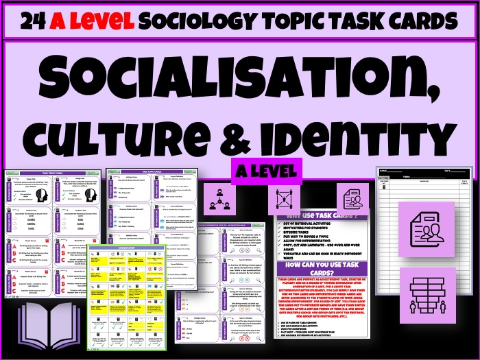 Socialisation Culture Identity Sociology Task Cards