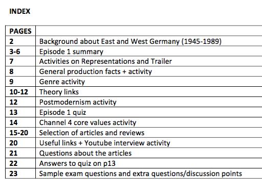 Deutschland 83 Episode 1 Study Booklet for A-Level Media