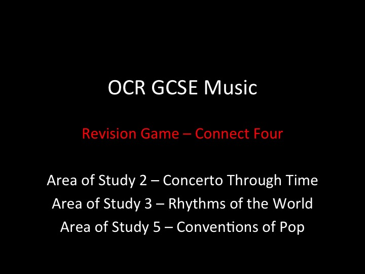 OCR GCSE Music - Areas of Study 2,3 and 5 Revision Game / Revision lessons