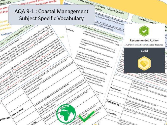 AQA 9-1 GCSE Geography - Coastal Management , Key Vocabulary Literacy Activity Sheets.