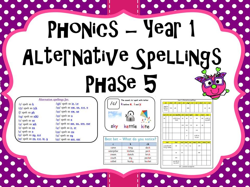 Alternative Spellings Phase 5 Phonics