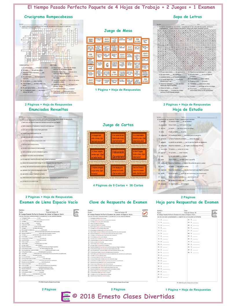 Past Perfect Tense Spanish Crossword Puzzle By Eslfungames