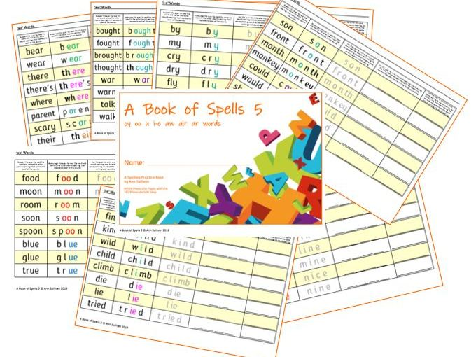 Book of Spells 5 - Spelling Practice Books - oy  oo  u  i-e  aw  air  ar