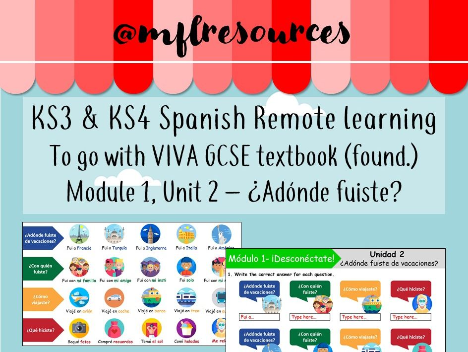 KS3 & KS4 Spanish - Viva texbook (foundation) Module 1 - Unit 2 - Adónde fuiste