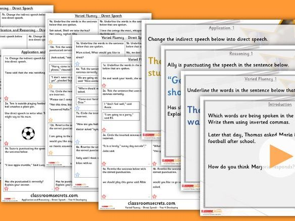 Grammar Year 4 Direct Speech Autumn Block 1 Step 6 Lesson Pack