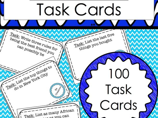 Be Creative! Task Cards