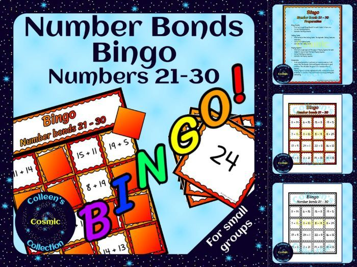 Number Bonds Bingo for numbers 21-30 for Small Groups
