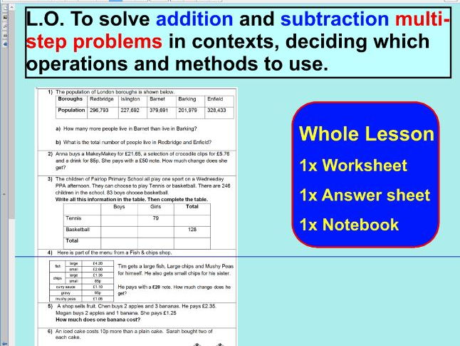 Addition and subtraction multi-step problems - ks2 year 5 & 6  -  WHOLE LESSON