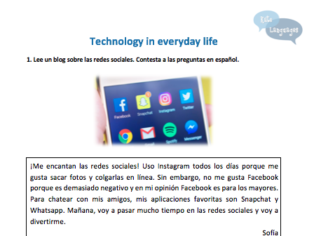 Spanish Key Stage 3 - Technology - New GCSE-style activities
