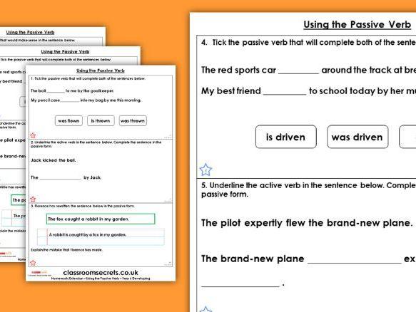 Grammar Year 6 Using the Passive Verb Spring Block 2 Homework Extension
