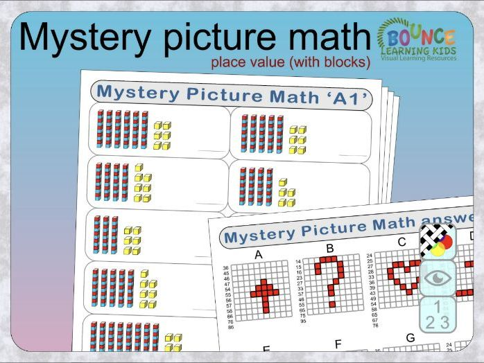 Mystery Picture Maths with place value (easy - visual blocks of 10 & 1) distance learning worksheets
