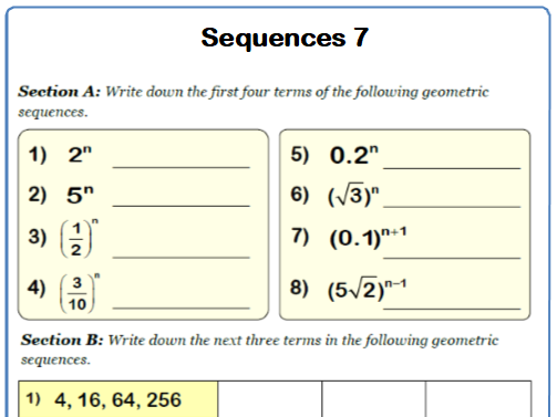 Geometric Sequences 9-1 GCSE Maths Worksheets