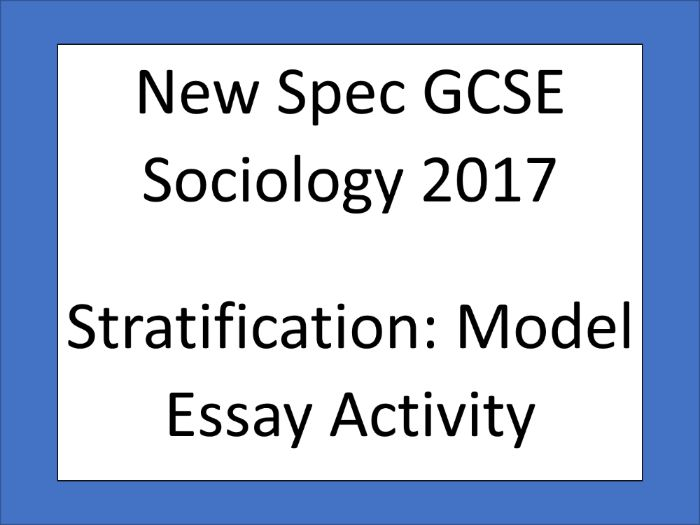 AQA New Spec GCSE Sociology 2017 - Social Stratification Model Essay Gap Fill Activity