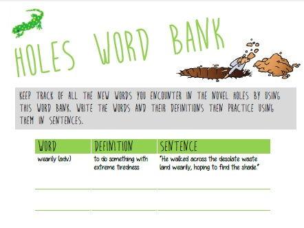 HOLES - Vocabulary Word Bank KS3