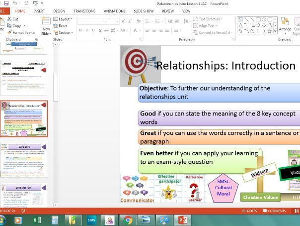 Eduqas Relationships: Introduction Lesson and Key Concept Words