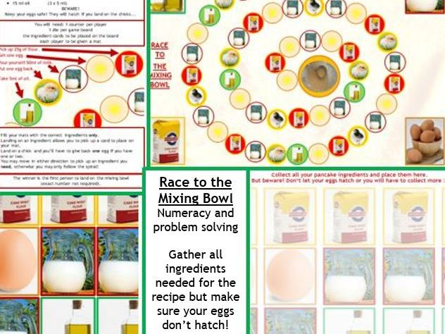 Pancake Day board game: Gather your ingredients and get to the bowl before your eggs hatch!
