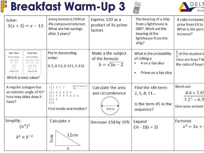 Breakfast Warm-Ups (Calc 2)