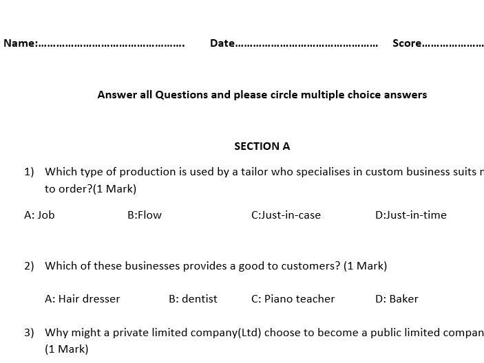 Alternative Specimen Paper 1 for AQA GCSE Business