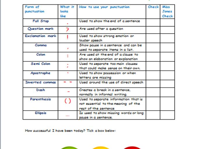 Punctuation Checklist - Teacher and self assessment