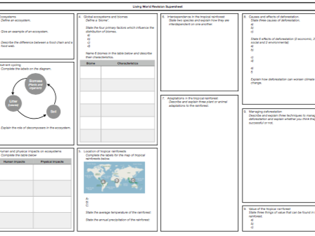 AQA Living World Revision Supersheet