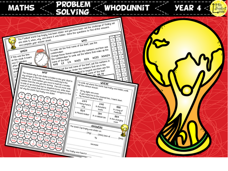 Football World Cup 2018 Whodunnit Activity Year 4