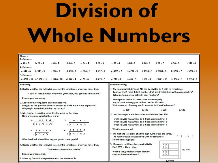 Division with Whole Numbers Problem Solving Mastery Worksheet