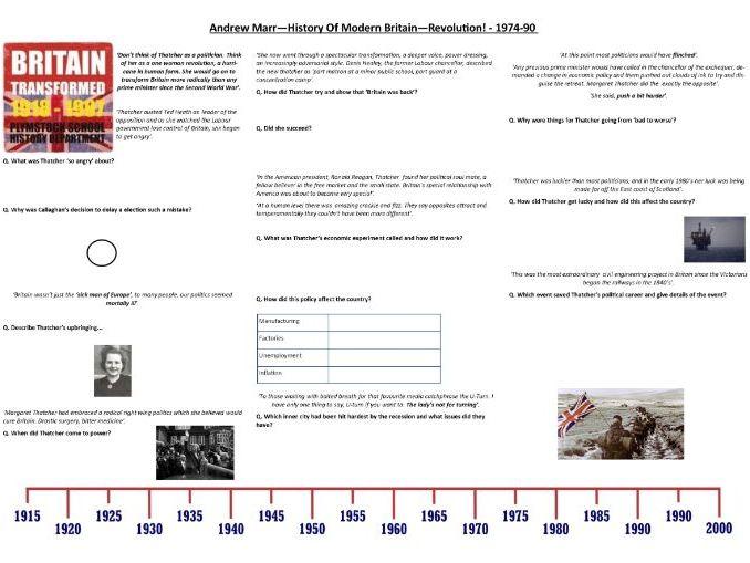 Andrew Marr - History Of Modern Britain - Revolution! - 1974-90- Supporting Worksheet