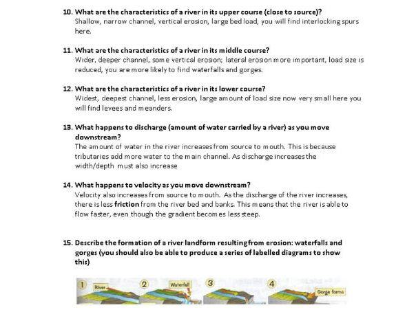 Q & A booklet of all topics for Component 1 - Geography flashcard revision questions