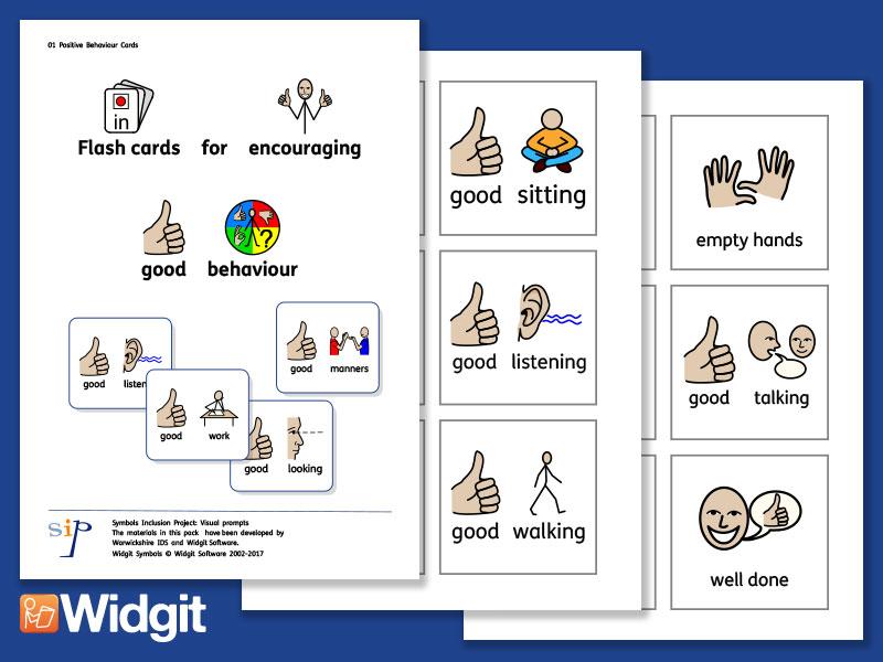 Positive Behaviour Cards - with Widgit Symbols