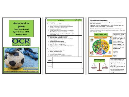 OCR Cambridge National in Sport Science - R045 - Sports Nutrition - Complete Revision Guide