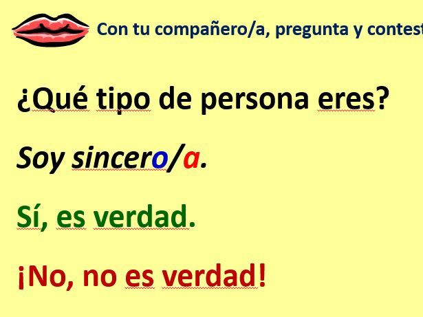 Viva 1 M1 Lesson 2 The verb Ser  & Personality adjectives