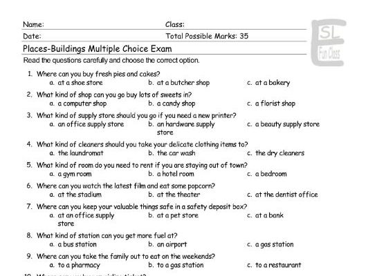 Places-Buildings Multiple Choice Exam