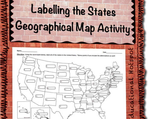 Labelling the United States Geographical Map Activity