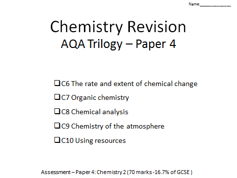 AQA Trilogy Chemistry revision booklet paper 4 C6-10