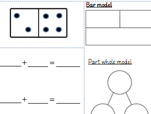 Fact Families using dominoes, part whole model and bar model