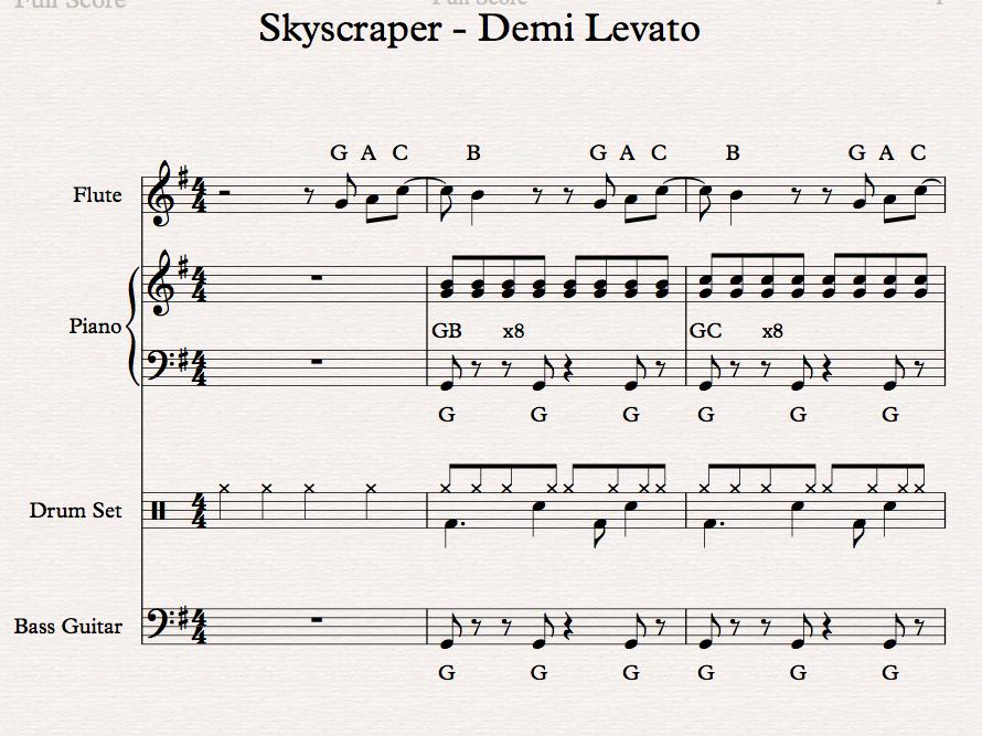 Skyscraper - Demi Levato, Classroom Sibelius arrangement