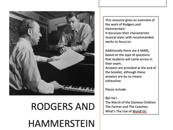 A Level Musical Theatre Rodgers and Hammerstein SAMS