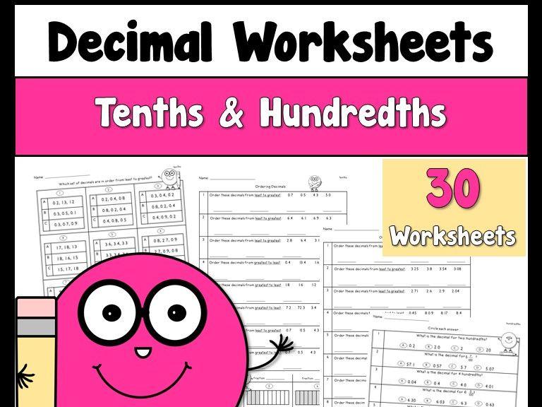 Decimals Worksheets using Tenths and Hundredths