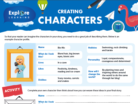 Free characterisation activity sheet